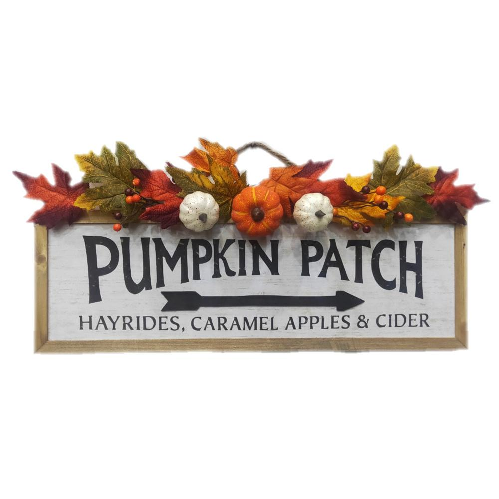 12 in. H Harvest Pumpkin Patch Fall Wood Decor