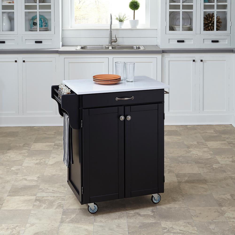 Home Styles Cuisine Cart Black Kitchen Cart With Quartz Top 9001-0410