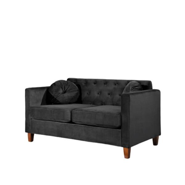 Us Pride Furniture Lory Kitts 55 In Black Velvet 2 Seater Chesterfield Loveseat With Square Arms S5536 L The Home Depot