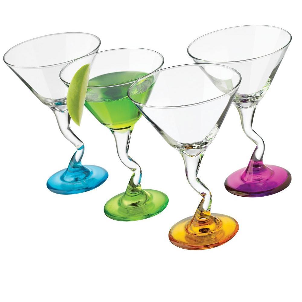 Libbey 4-Piece Z-Colors Martini Glass Set