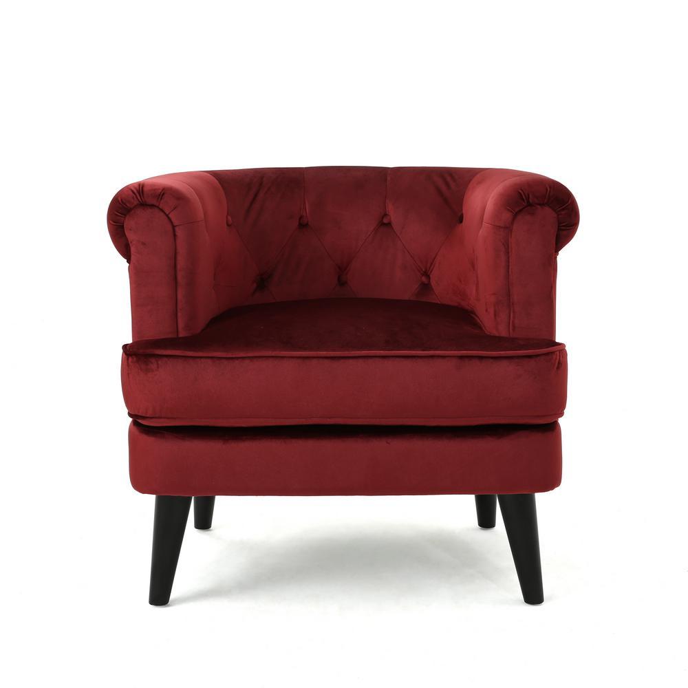 Noble house miguel mid century modern tufted garnet new velvet club chair