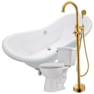 Aegis 68.75 in. Acrylic Clawfoot Non-Whirlpool Bathtub in White with Bridal Faucet and Cavalier 1.28 GPF Toilet