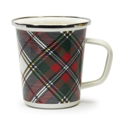 Highland Plaid Red 16 oz. Enamelware Latte Mug