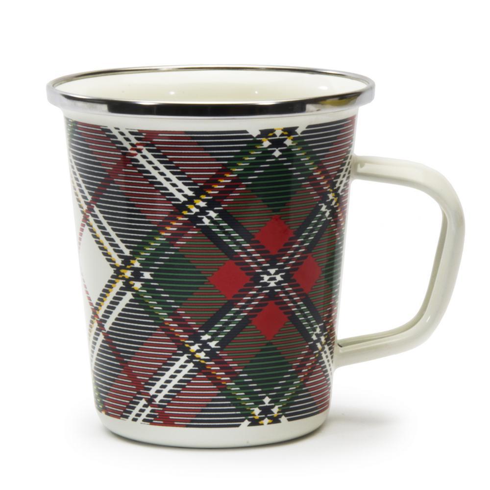 Highland Plaid Red 16 oz. Enamelware Latte Mug