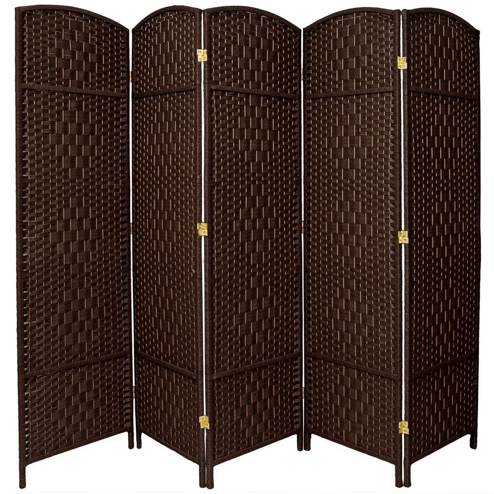 6 ft dark mocha 5 panel room divider fbopdmnd5pdmoc the home depot rh homedepot com 4 Panel Room Divider Screen 5 panel wood room divider