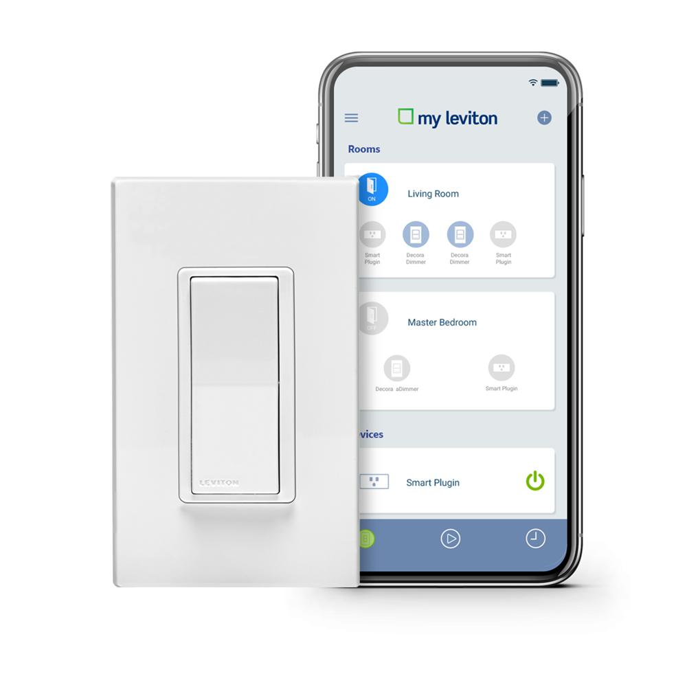 Leviton Leviton Decora Smart Wi-Fi 15 Amp Light Switch No Hub Required Works with Alexa Google Assistant Wallplate Included, White