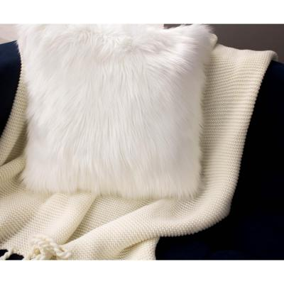 Faux-Fur White Solid Faux Fur Polyester 18 in. x 18 in. Throw Pillow (Set of 2)