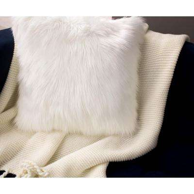 Faux Fur 2-Piece Decorative Pillow Set in White
