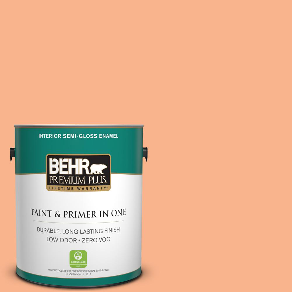 BEHR Premium Plus 1-gal. #230B-4 Desert Sunrise Zero VOC Semi-Gloss Enamel Interior Paint