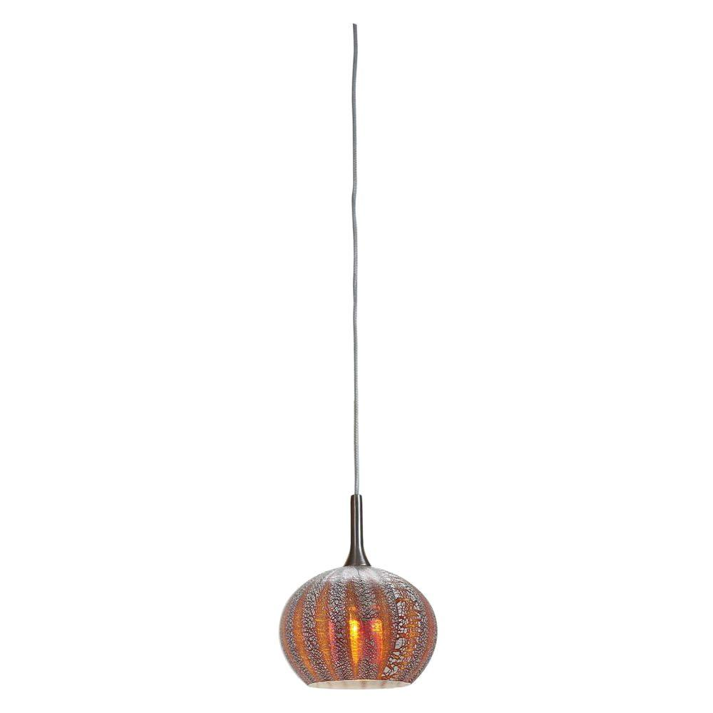 Illumine 1-Light Pendant Brushed Steel Finish Silver Amber Ribbed Opalin Glass-DISCONTINUED