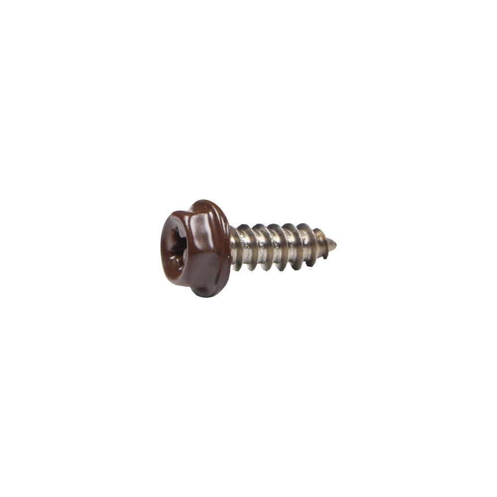 #8 x 1/2 in. Brown Stainless Steel Hex Head Gutter Sheet Metal Screw (25-Pack)
