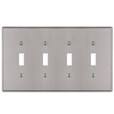 Ansley 4 Gang Toggle Metal Wall Plate - Brushed Nickel