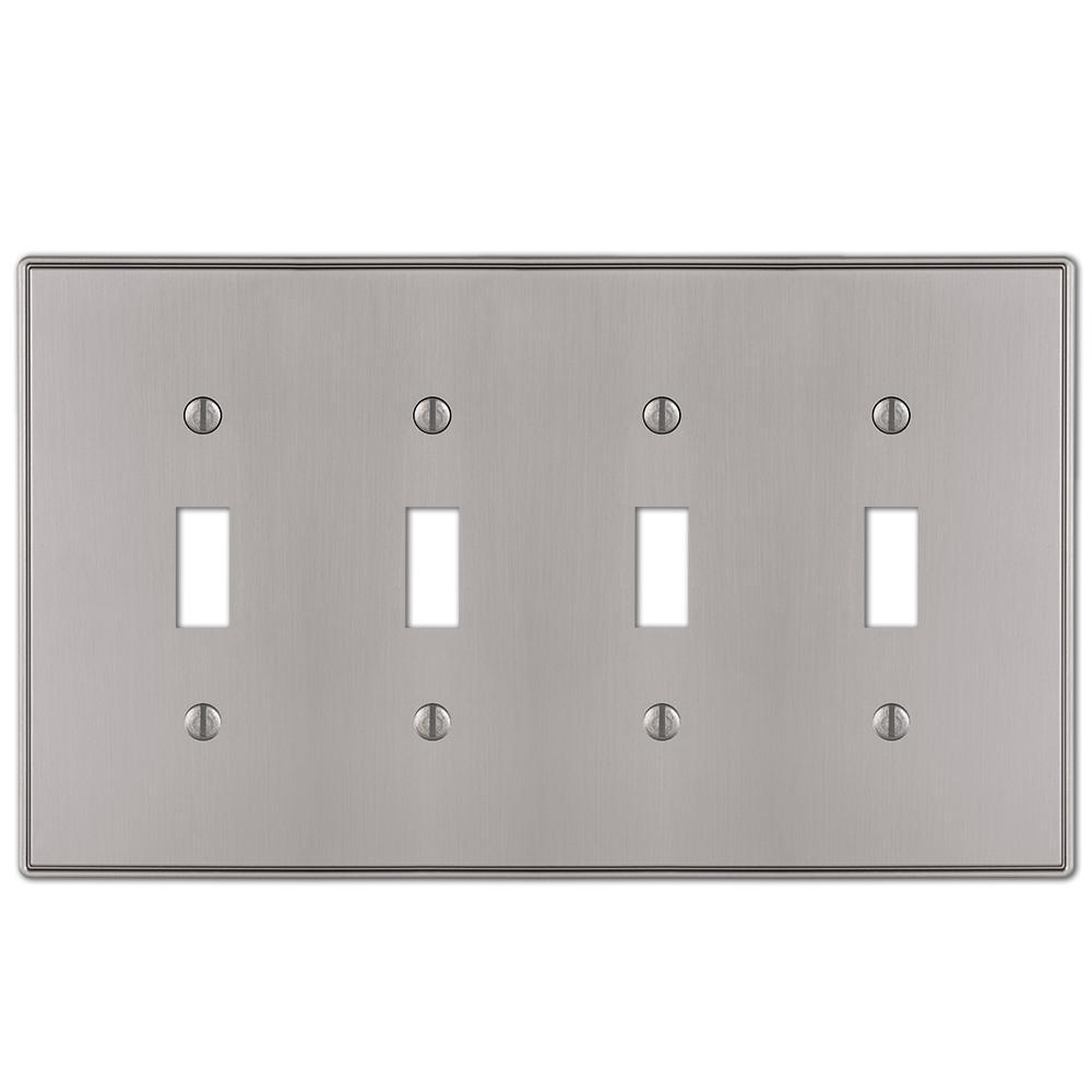 Ansley 4 Gang Toggle Metal Wall Plate - Brushed Nickel