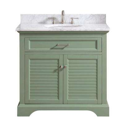 Colton 37 in. W x 22 in. D x 35 in. H Bath Vanity in Basil Green with Marble Vanity Top in Carrara White with Basin