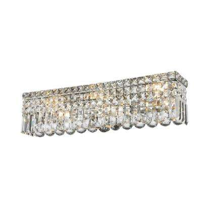 Cascade Collection 6-Light Polished Chrome Vanity Light with Clear Crystal