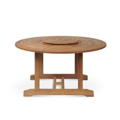 Royal Round Teak Outdoor Dining Table with Lazy Susan