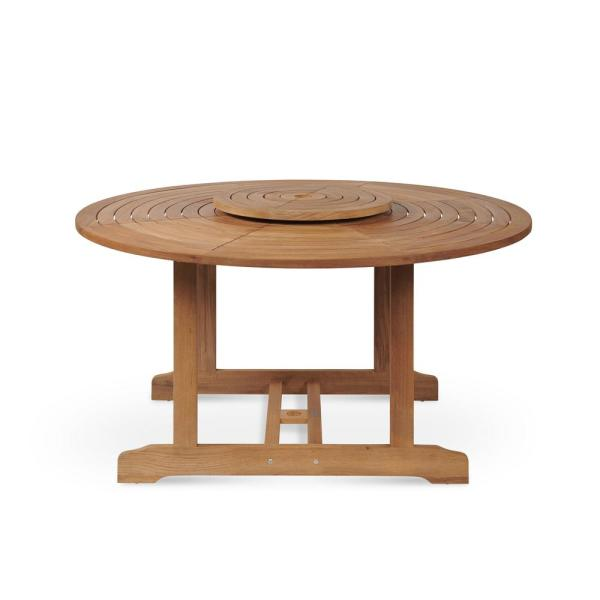 Hiteak Furniture Royal Round Teak Outdoor Dining Table With Lazy Susan Hlt316 The Home Depot