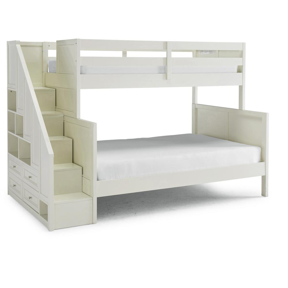 Naples Off White Twin Over Full Bunk Bed with Steps