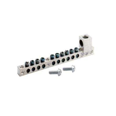 BR and CH 10 Terminal Plug-On Neutral Ground Bar with 2/0 Lug