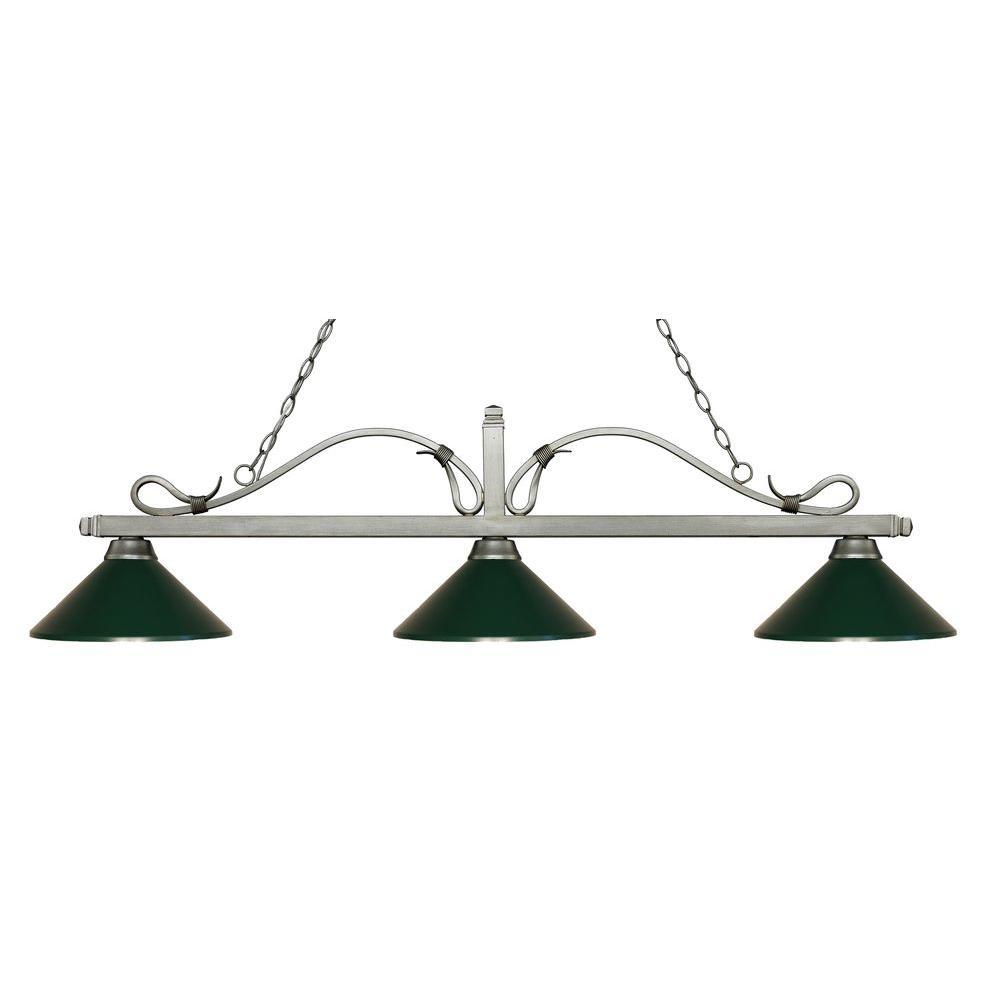Filament Design Morata 3 Light Antique Silver Island Light With Dark Green  Shades