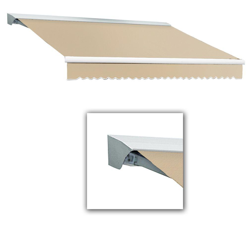AWNTECH 12 ft. LX-Destin with Hood Right Motor with Remote Retractable Acrylic Awning (120 in. Projection) in Linen