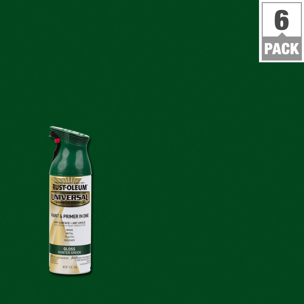 Rust-Oleum Universal 12 oz. All Surface Gloss Hunter Green Spray Paint and Primer in One (6-Pack)