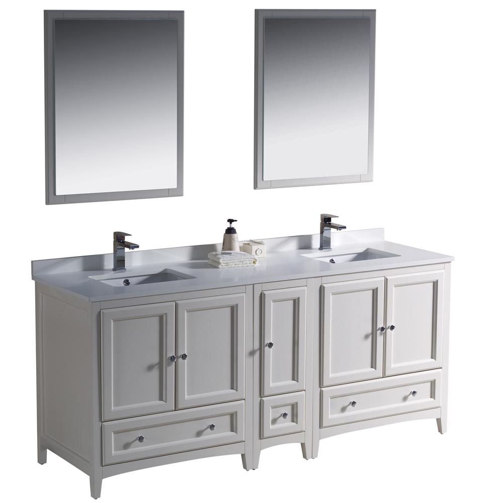 Fresca Warwick 72 in. Bathroom Double Vanity in Antique White with Quartz Stone Vanity Top in White, White Basin and Mirrors