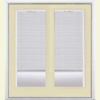 Prehung Mini Blind Steel Patio Door with Brickmold in Vinyl Frame
