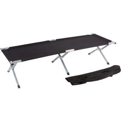 75 in. Portable Folding Camping Bed and Cot - 260 lbs. Capacity (Black)
