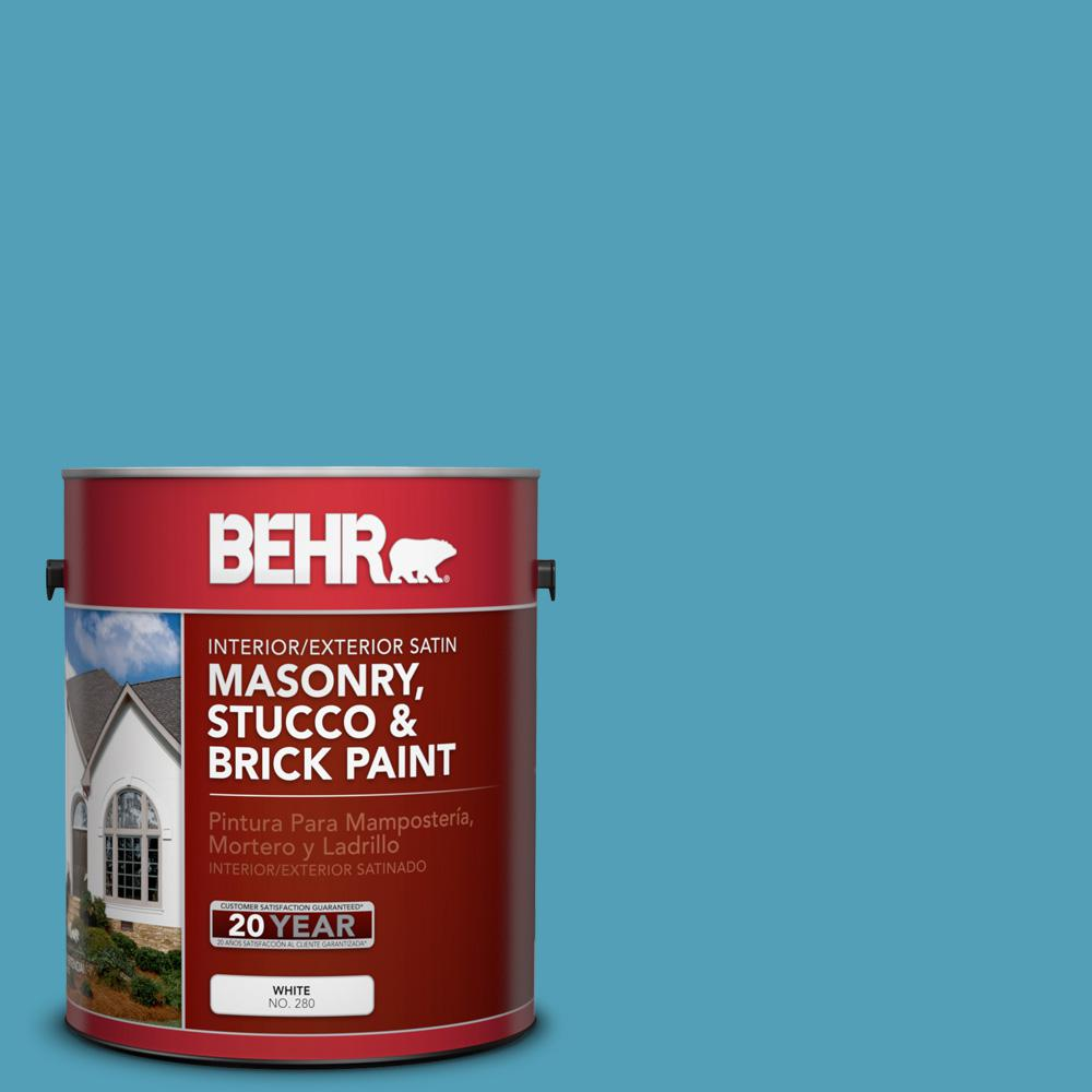 1 gal. #M480-5A North Pole Blue Satin Interior/Exterior Masonry, Stucco and