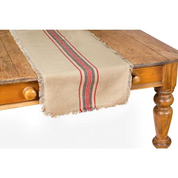 Linen Stripe 16 in. x 72 in. Natural Table Runner