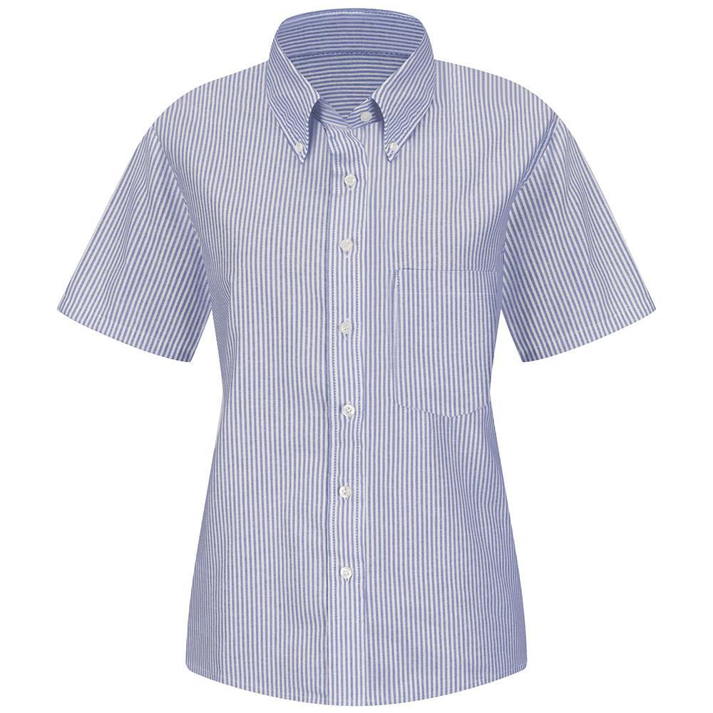 Women's Size 10 Blue/White Stripe Executive Oxford Dress Shirt