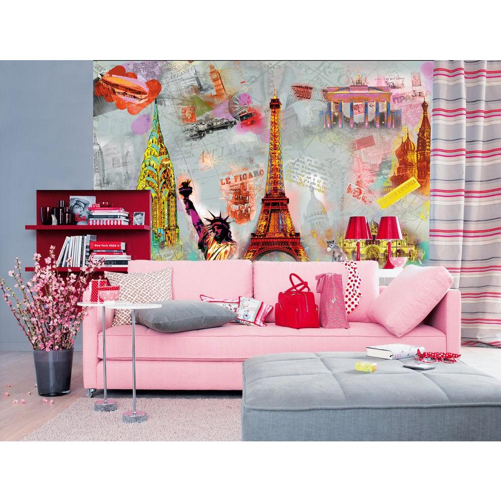 Ideal Decor 100 in. x 144 in. Around The World Wall Mural
