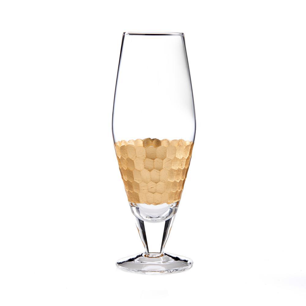 DAPHNE 10.15 oz., 2.55 in. x 7 in. Gold Prosecco Wine Glasses (Set of)