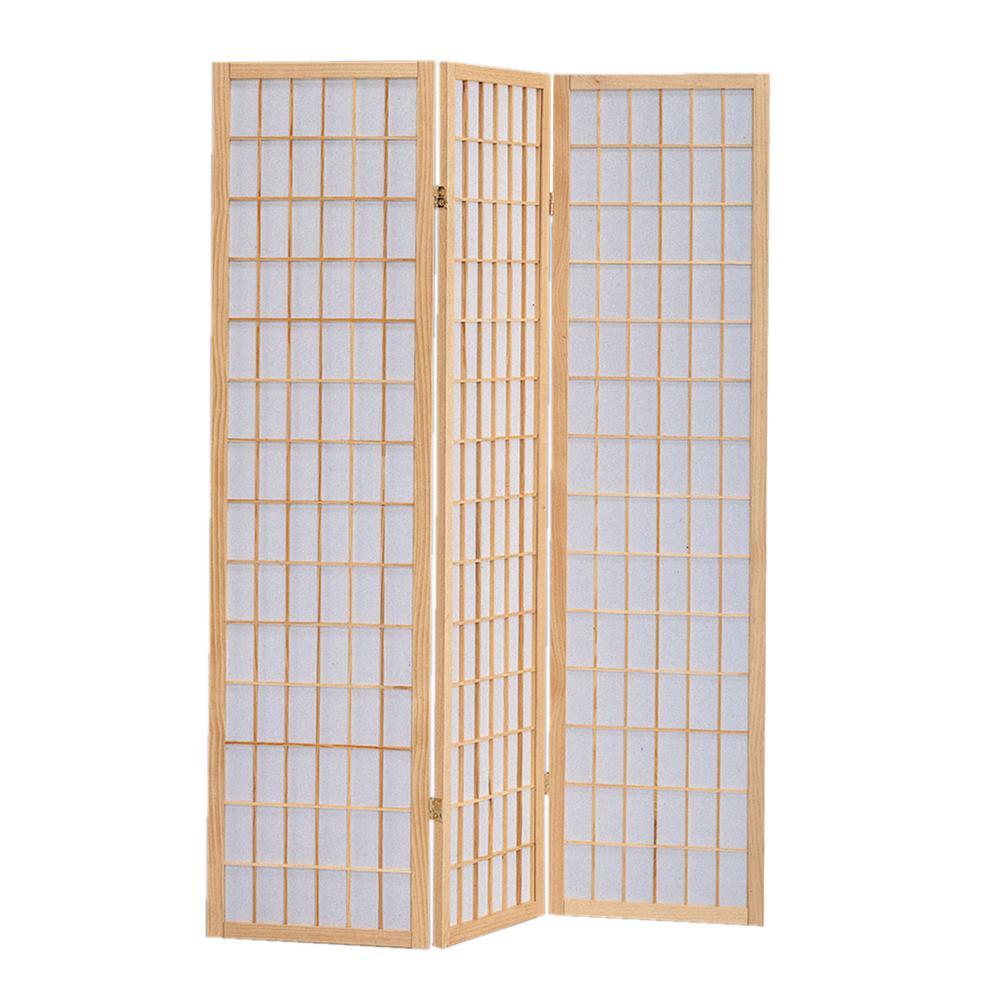 Shoji Screen 6 ft. Natural/Brown 3-Panel Room Divider