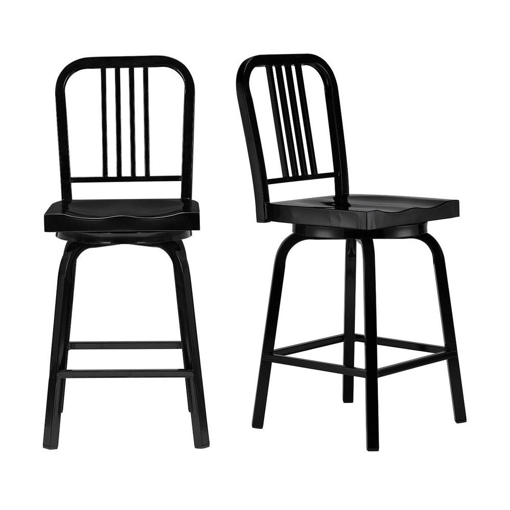 Stylewell Kipling Black Metal Swivel Counter Stool with Full Back (17.32 in. W x 40.55 in. H)