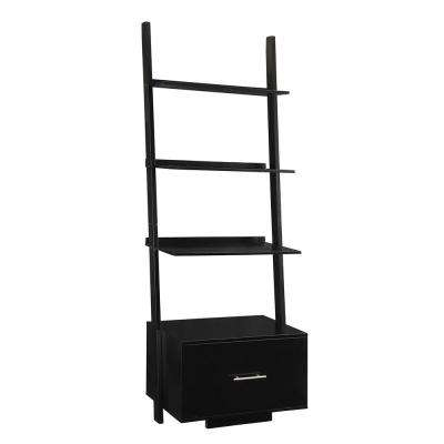 69 in. Black Wood 4-shelf Ladder Bookcase with Open Back