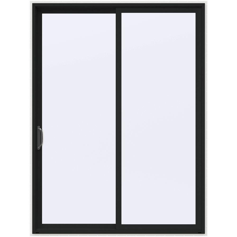 72 in. x 96 in. V-4500 Contemporary Bronze Painted Vinyl Left-Hand Full Lite Sliding Patio Door w/White Interior