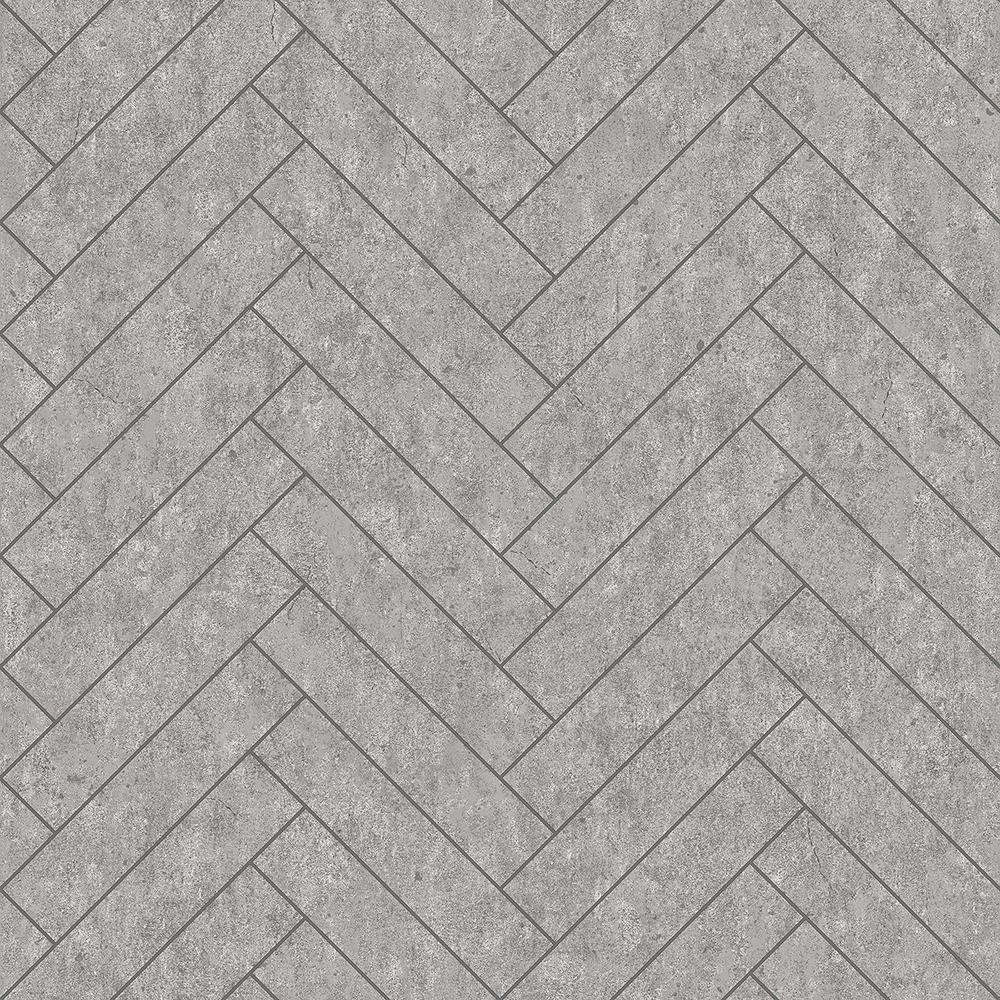 57.8 sq. ft. Raw Tiles Light Grey Herringbone Concrete Wallpaper