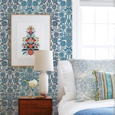 56.4 sq. ft. Lovebirds Navy Folk Stripe Wallpaper