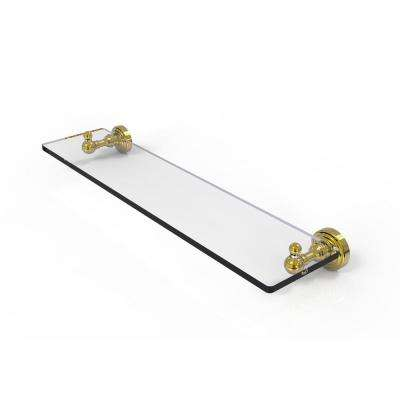 Waverly Place Collection 22 in. Glass Vanity Shelf with Beveled Edges in Polished Brass