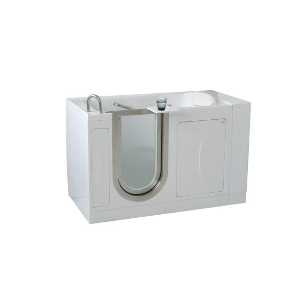 Royal 52 in. Acrylic Walk-In Soaking Bathtub in White with Heated Seat and Left 2 in. Dual Drain