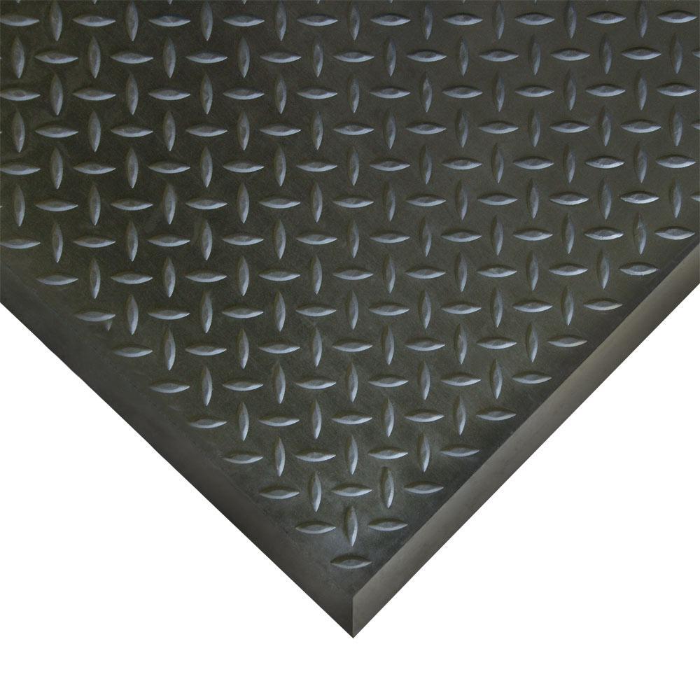 Foot-Rest 28 in. x 31 in. Interlocking Black Anti-Fatigue Floor Mat End Tile