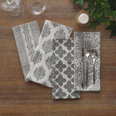 17 in. W x 17 in. L Elrene Everyday Gray Printed Napkins (Set of 24)