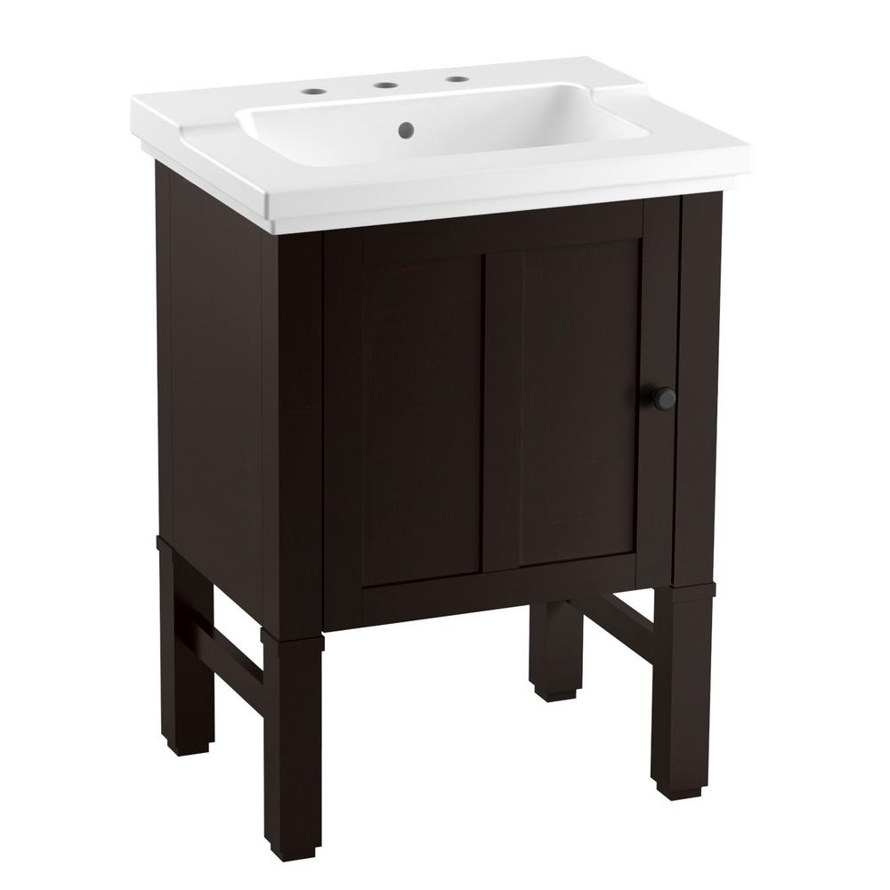 KOHLER Chambly 24 in. W Vanity in Black Forest with Ceramic Vanity Top in White with White Basin