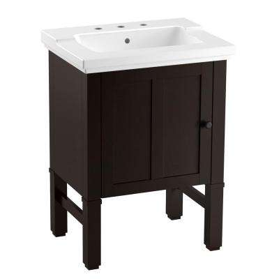 Chambly 24 in. W Vanity in Black Forest with Ceramic Vanity Top in White with White Basin