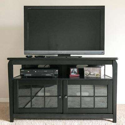 48 in. Wood Television Stand in Black with 175 lb. Weight Capacity
