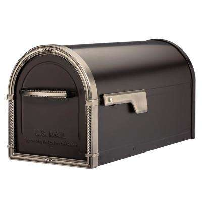 Bungalow Rubbed Bronze Post Mount Mailbox with Antique Nickel Accents