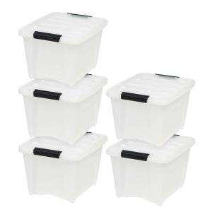 Deals on 5-Pack IRIS 19 Qt. Stack and Pull Box in Pearl