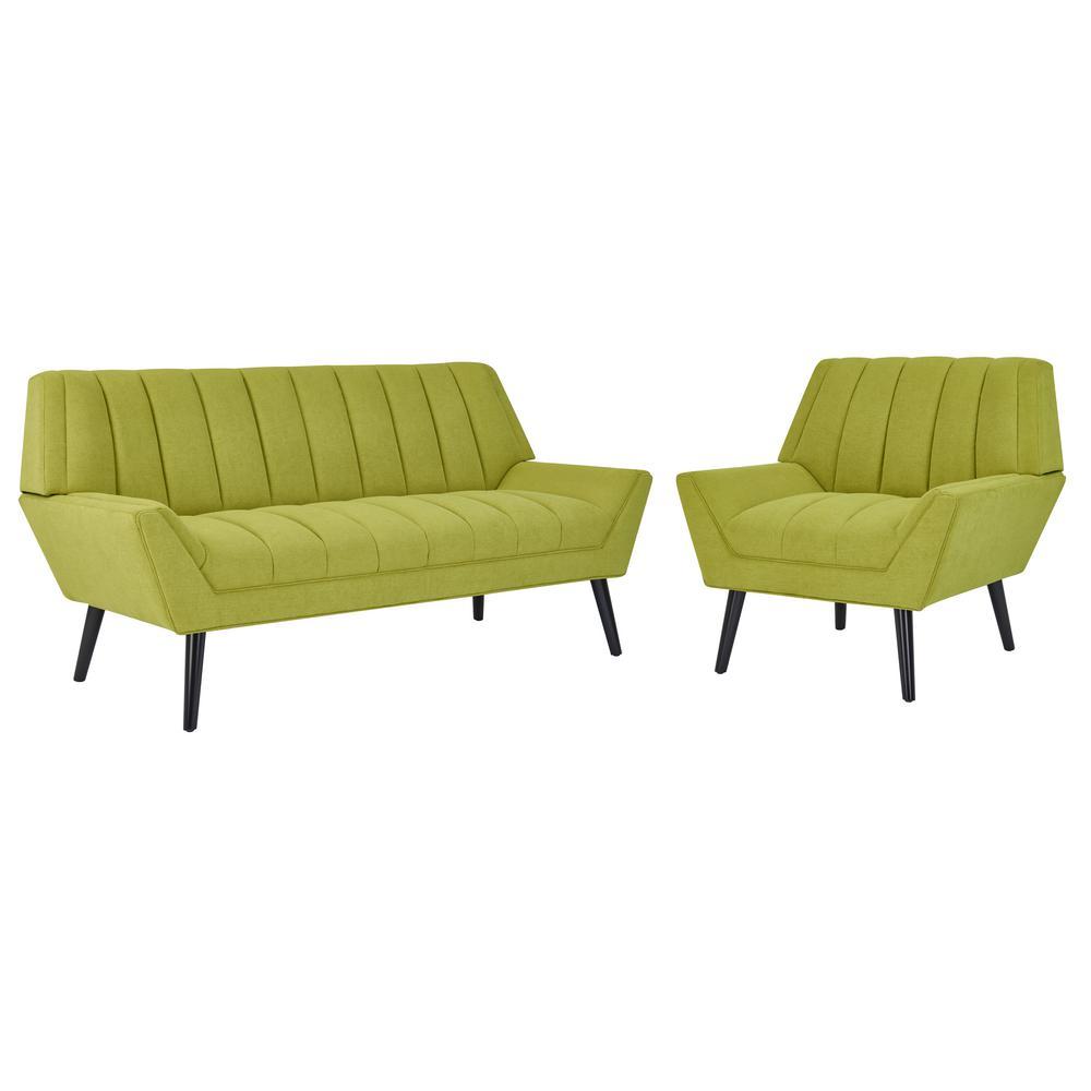Rochelle Mid Century Modern Sofa and Arm Chair Set in Apple Green Plush Low-Pile Velvet